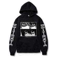 Death note hoodie kira l lawliet olhos anime impressão harajuku rua manga longa coreano casal hoodies
