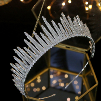 New luxury unique wedding zirconia crown parade party headdress crystal headband tiara