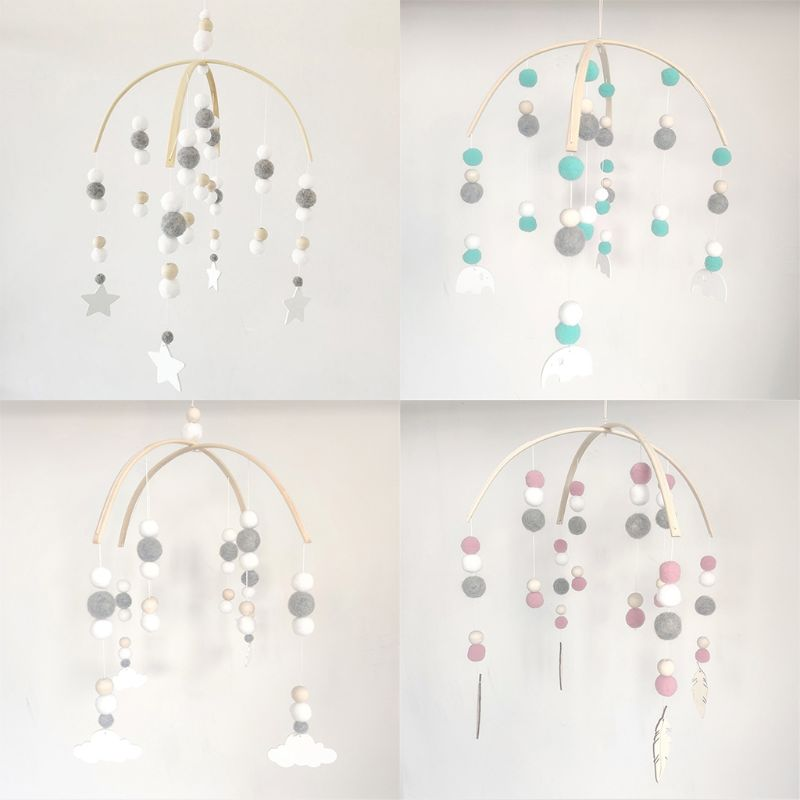 Baby Wool Balls Wooden Beads Mobile Rattles Bed Bell Wind Chimes Toy Decorations 3XUC