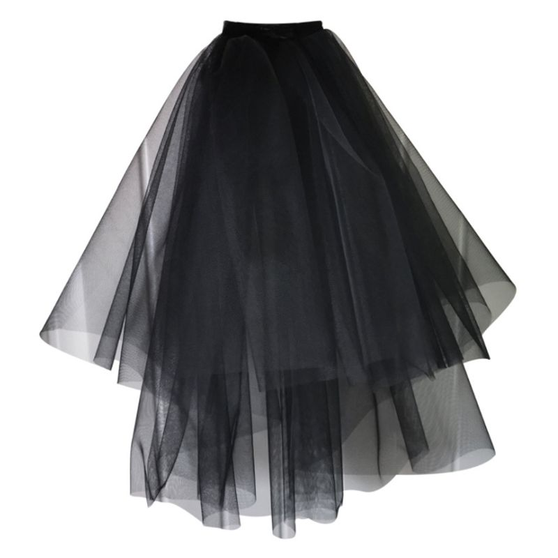 Womens Layered Black Tulle Short Wedding Veil With Comb Halloween Cosplay Party