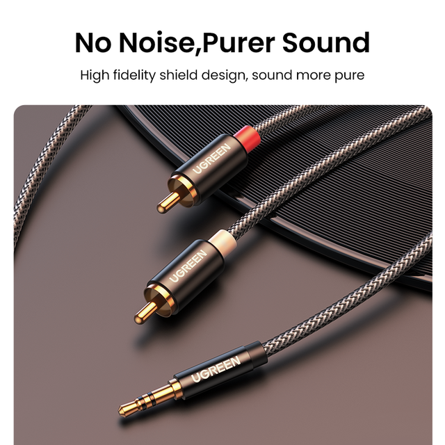 UGREEN RCA Cable HiFi Stereo 2RCA to 3.5mm Audio Cable AUX RCA Jack 3.5 Y Splitter for Amplifiers Audio Home Theater Cable RCA 2