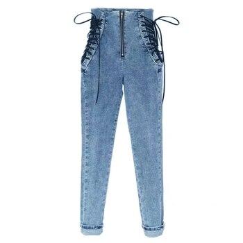 OKUOHAO High Waist Hips Tight Jeans Female Sense Europe And The United States 2019 Autumn and Winter Slim Feet Pants Nine Pants 4