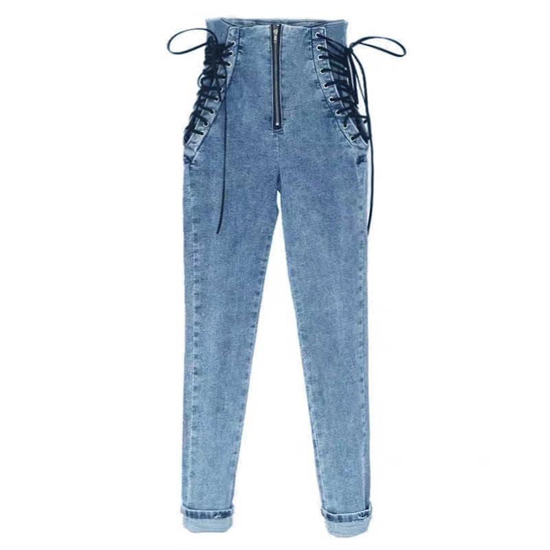 OkuohaoJeans Hohe Taille Jeans Frauen Blase Butt 2020 Herbst Winter Stretch Denim Hosen Schwarz Gewaschen Dünne Dünne Weibliche Hose