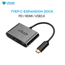 Vmade 3-in-1 USB to Type C Hub HDMI Adapter USB-C Dock with Type-C Power Delivery for MacBook Pro/Air 2018
