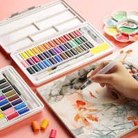 Macaron solide aquarelle peinture série 36/48 couleur portable avec palette de couleurs débutant poudre peint à la main art fournitures