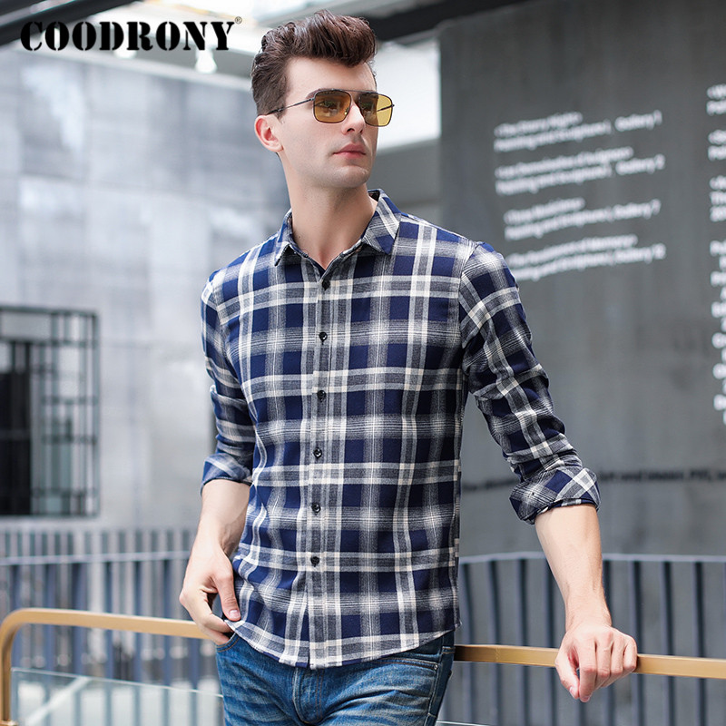 COODRONY Brand Long Sleeve Shirt Men Spring Autumn Fashion Plaid Mens Shirts New Arrival Business Casual Camisa Masculina C6003