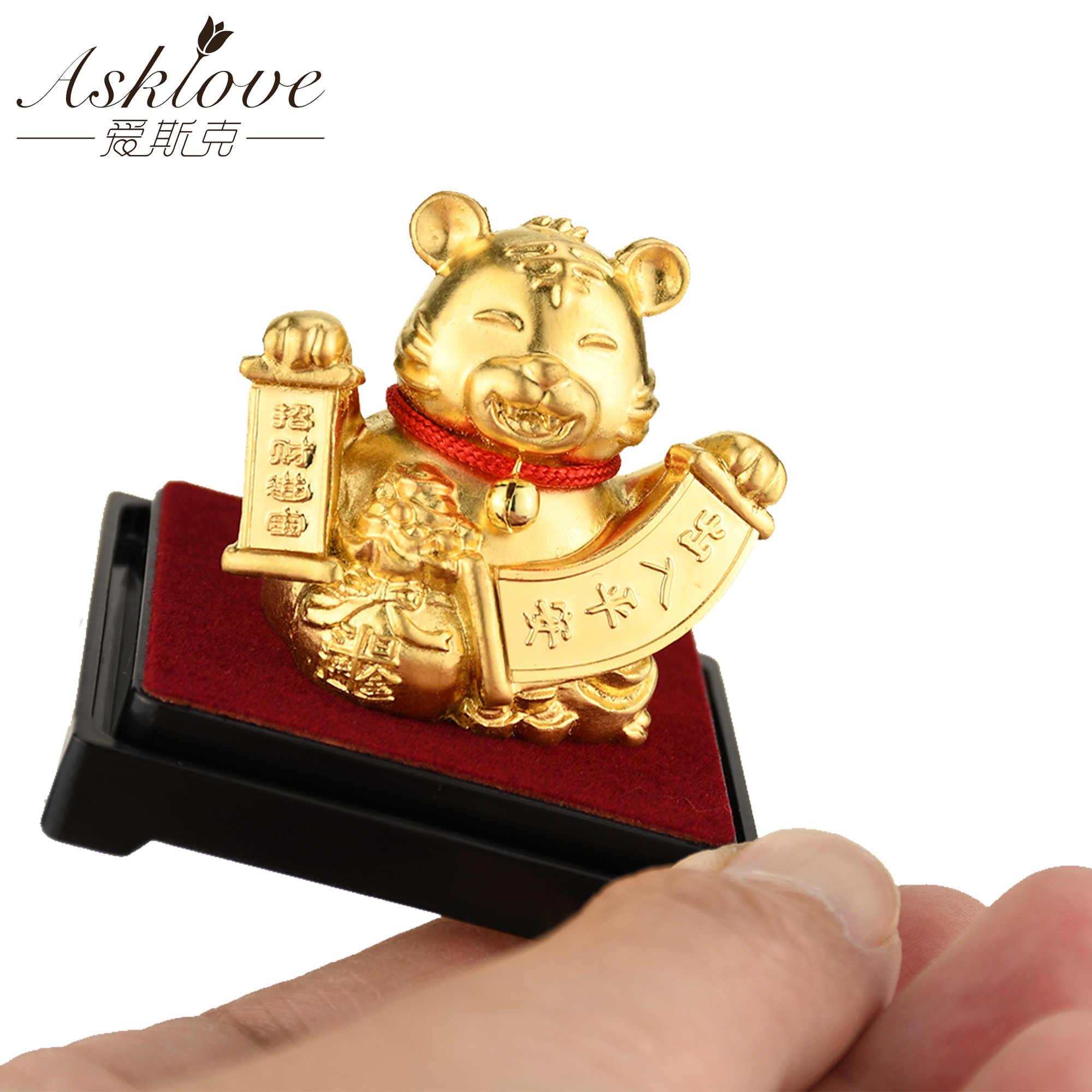 Chinese Zodiac Verzamelen Rijkdom Ornamenten 24 K Goud Folie Fengshui Decor Dragon/Rat/Varken/Aap Auto Geluk ambachten Home Office Decor
