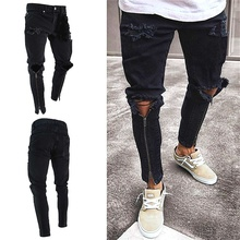 2019 Mens  Zipper Jeans Black Fashion Leg Pants Hole Keen Slim Fit Motorcycle Trousers