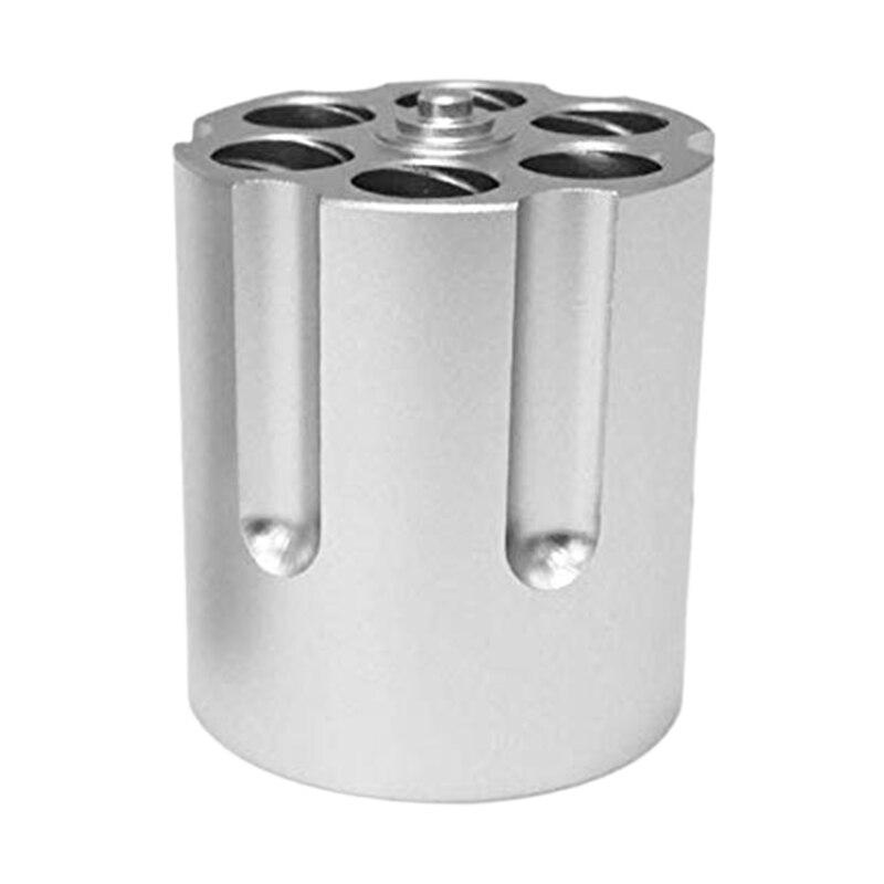Cylinder Pen Holder Revolver Pen Holder With 6 Slots Pen Pencil Holder Cylinder Design Heavy Duty Non-Slip Aluminum Office Cre