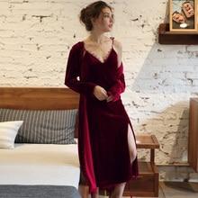 Winter Women Pajamas Set Gold Velvet Robe Gown Autumn Sexy Lace Sling Sleepwear Bathrobe
