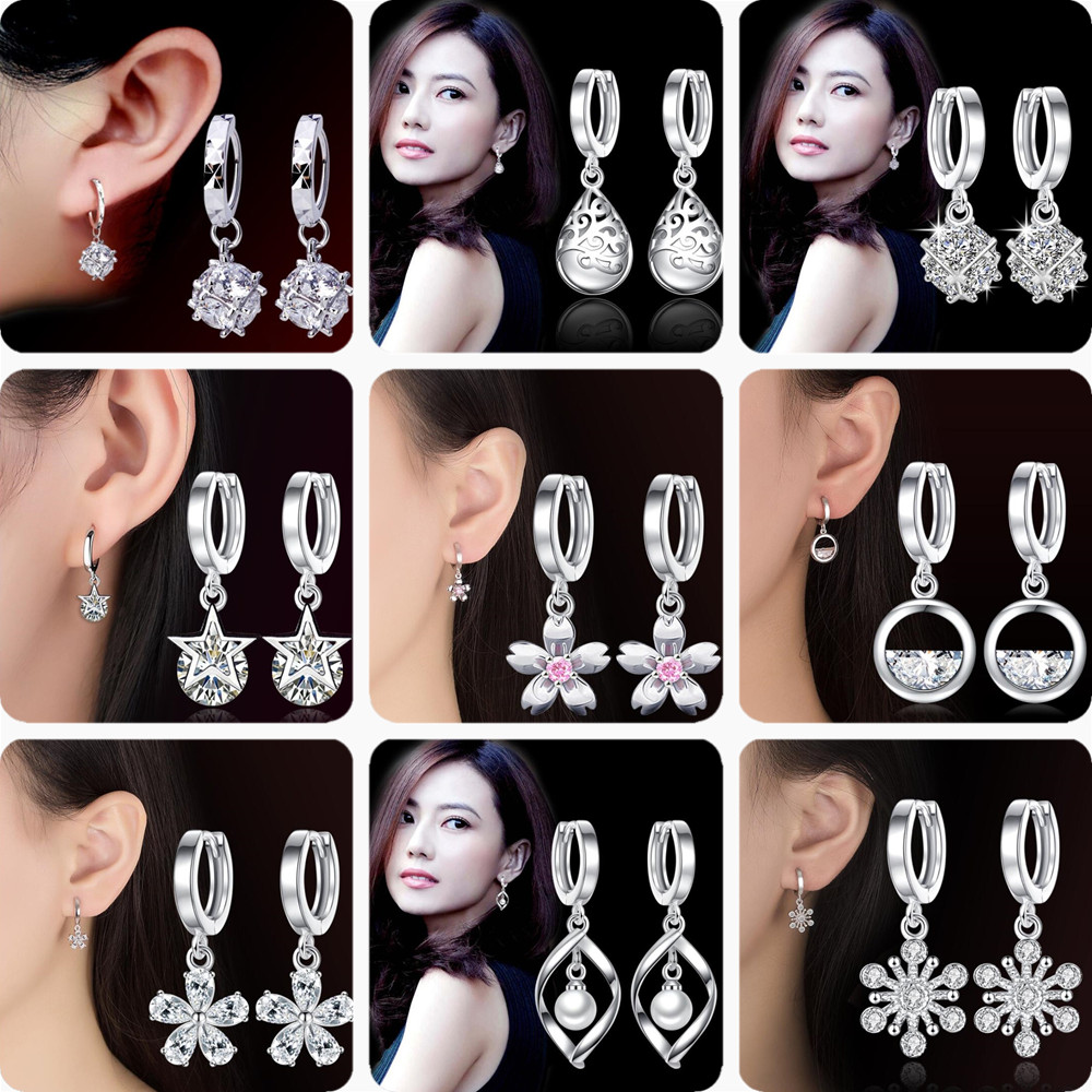 NEHZY 925 Stamp Silver Plated Jewelry High Quality Cubic Zirconia Fashion Woman Earrings Flowers Round Hollow Retro Earrings