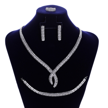 Jewelry Sets HADIYANA Classical Zirconia Fashion Women Wedding Bridal Necklace Earrings Ring And Bracelet Set CNY0104 Sieraden