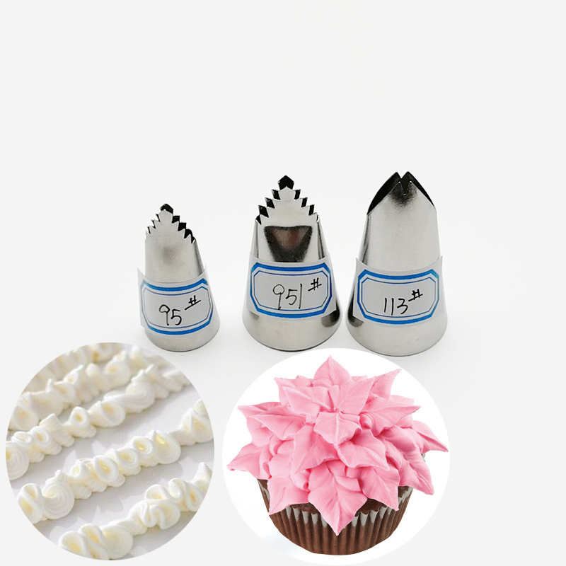 3pcs #95#951#113 Leaves Nozzles Icing Piping Nozzles For Decorating Cakes Cupcake Pastry Tips Cake Decorating Tools Cream Nozzle