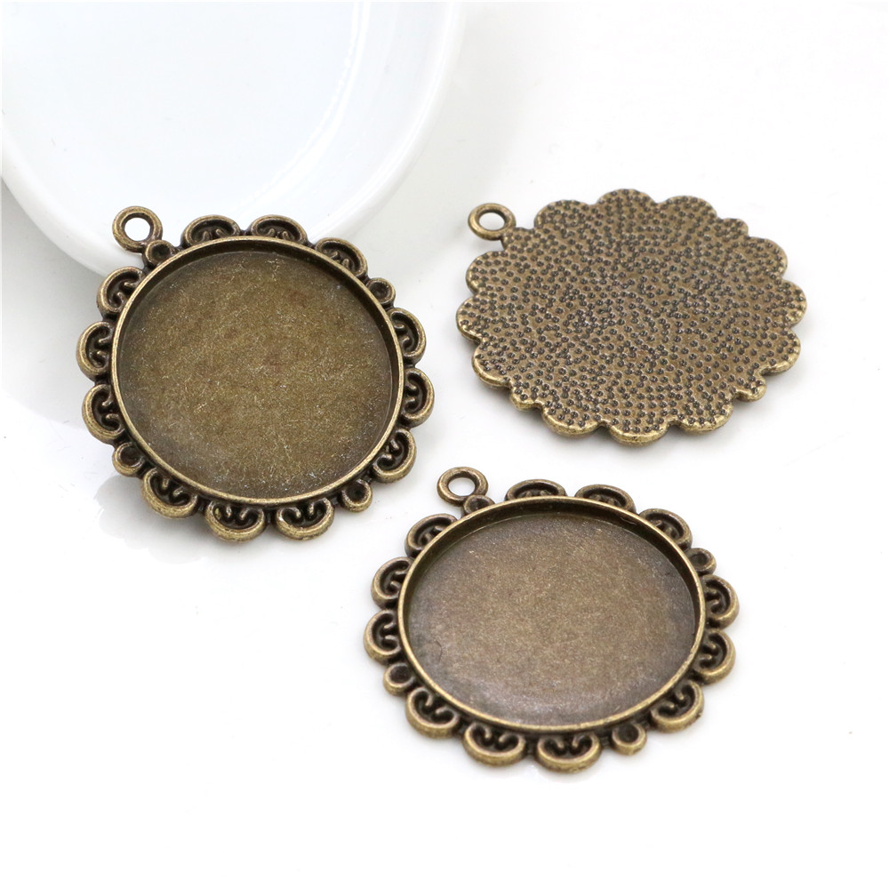 New Fashion  3pcs 25mm Inner Size Antique Bronze Flowers Style Cameo Cabochon Base Setting Charms  Pendant (A4-55)