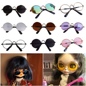 1 Pcs Doll Accessories Round Round Glasses Color Glasses Sunglasses for BJD Blyth American Grils Toy Photo Props(China)