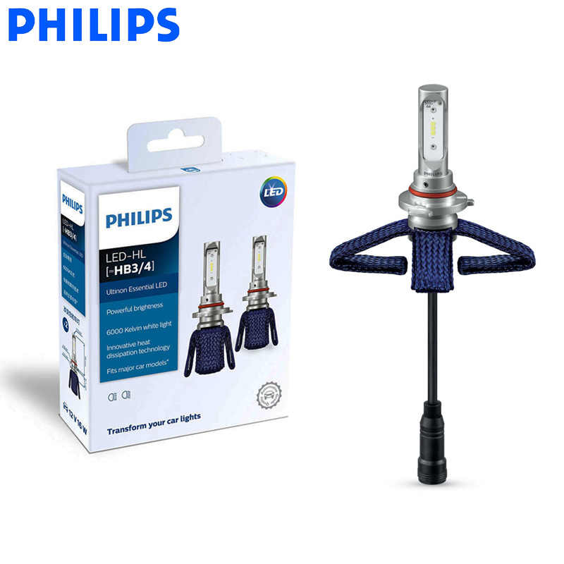 Philips LED 9005 9006 HB3 HB4 Ultinon Essential LED Car Bulbs 6000K Bright White Light Genuine Auto Head Lamps 11005UE X2, Pair