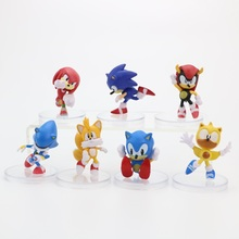 7 pcs/lot Anime Sonic Figure Tails Shadow Tails Characters Action Figure PVC Set Doll Model Toy Christmas Gift For Children 100% original bandai gashapon pvc toy figure 05 full set of 5 pcs from japan anime kamen rider