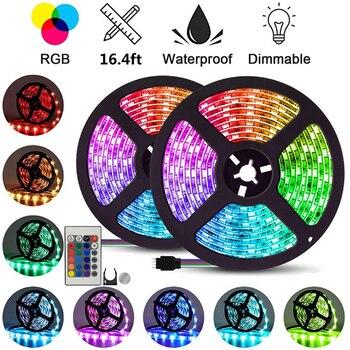 LEADLY 4 Plug LED Light Strip RGB SMD 2835 Flexible Ribbon Tape led Light Strip RGB 5M Tapes Diode DC 12V Remote Control Strips