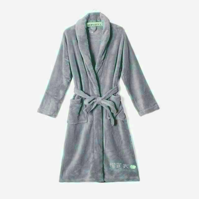 New Style Coral Velvet Long Sleeve Men Women's Robes WOMEN'S Pajamas Thick Autumn & Winter Large Size Bathrobe Plus-sized Lard-b