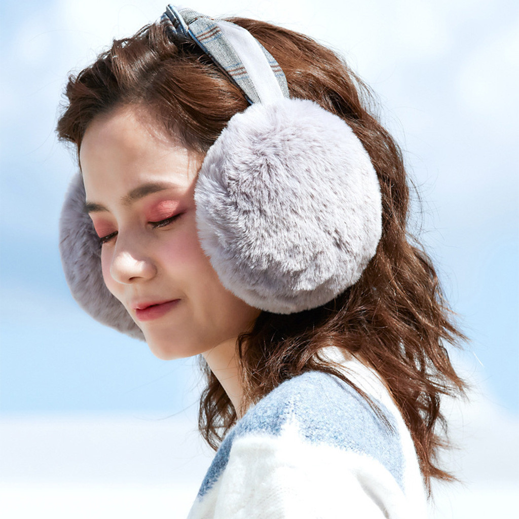 2019 Solid Women Foldable Winter Earmuffs Plaid Knot Faux Fur Hamburger Ear Warmer Plush Headgear Fur Headphones Ear Muffs