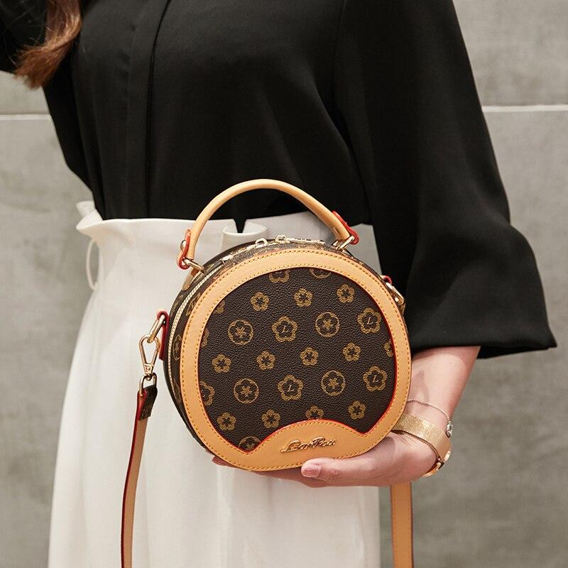Offre spéciale haute qualité femmes sac femme sacs à main en cuir épaule bandoulière fourre-tout sac à main fleur ronde mignon petits sacs de mode - 3