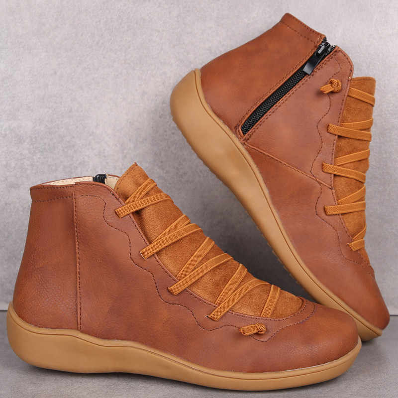 Kadın kış kar botları PU deri yarım çizmeler bahar düz ayakkabı kadın kısa kahverengi Botas kürk kadınlar için dantel Up Botas mujer