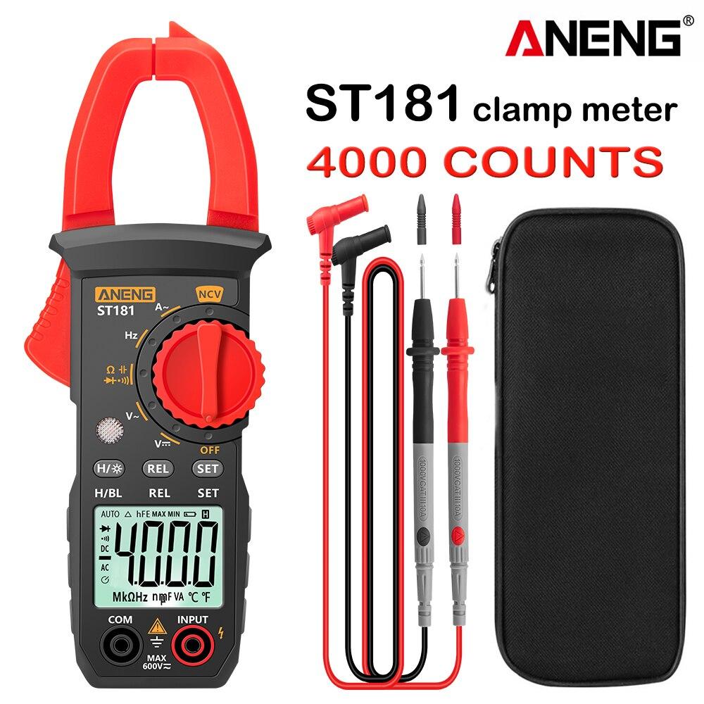 Цифровой мультиметр-зажим ANENG ST181, 4000 отсчетов, тестер сопротивления транзисторов, Измеритель постоянного/переменного тока, амперметр, воль...