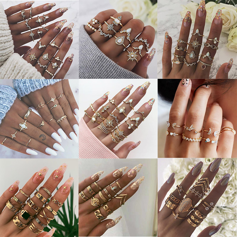 KSRA Boho Vintage Gold Star Knuckle Rings For Women BOHO Crystal Star Crescent Geometric Female Finger Rings Set Jewelry 2020