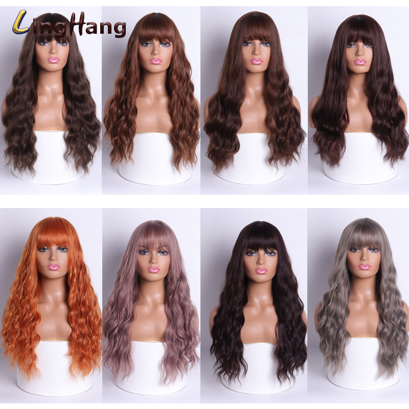 LingHang Female Cosplay Hair Long Wavy Wig 20 Inch Mixed Black Gray Powder Light Brown Synthetic Wig Heat-resistant Fiber