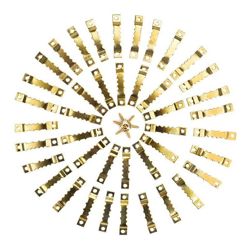 100 штук подвешивание картины рамки пилообразный Вешалки Наборы двойное отверстие 200 винты с шестигранной головкой для настенного монтажа з...