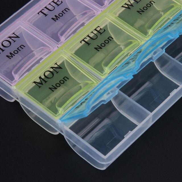 7 dni tygodniowo przezroczysty 21 przedział pokrywka tabletka pigułka uchwyt skrzynki do przechowywania medycyny organizator Case Container