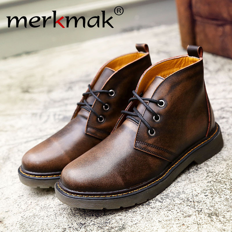 Merkmak 2019 new men's leather boots fashion trend leather handmade fashion Korean Autumn Winter men's casual shoes