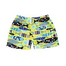 Желтые трусы-боксеры с принтом тропических рыб для мальчиков; стрейчевый пляжный купальный костюм с принтом героев мультфильмов; шорты; плавки;#1