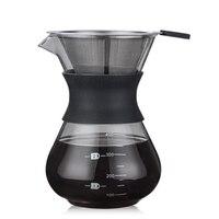 200ML Pour café de filtro de gotero de vidrio contenedor cafeteras eléctricas de acero inoxidable filtro de café|Cafeteras| |  -