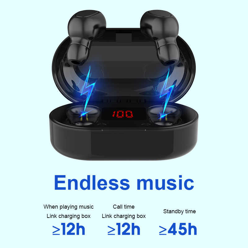 TWS Auricolare Bluetooth Con Microfono Display A LED Senza Fili di Bluetooth Auricolari Auricolari Noise Cancelling Headphones Impermeabile Cuffie