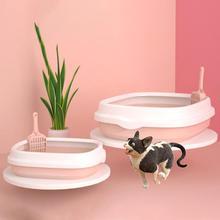 Пластиковая Кровать для собак, кошек, полузакрывающаяся съемная коробка для кошачьих туалетов против брызг с совком для домашних животных, коробка для кошачьих туалетов, товары для кошек