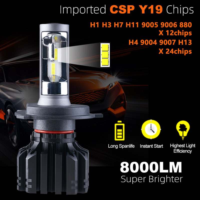 BAGELED CSP Car Headlight H4 H7 LED 3000K 4300K 6500K 8000K H1 H3 H8 H9 H11 9005 9006 HB3 HB4 880 881 LED Bulb Auto Fog  Light 2
