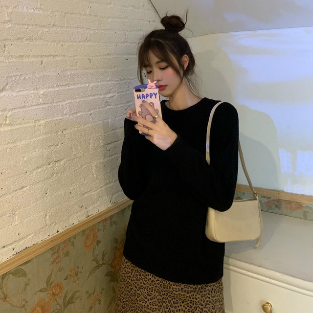Новый Повседневный свитер женский пуловер с круглым вырезом