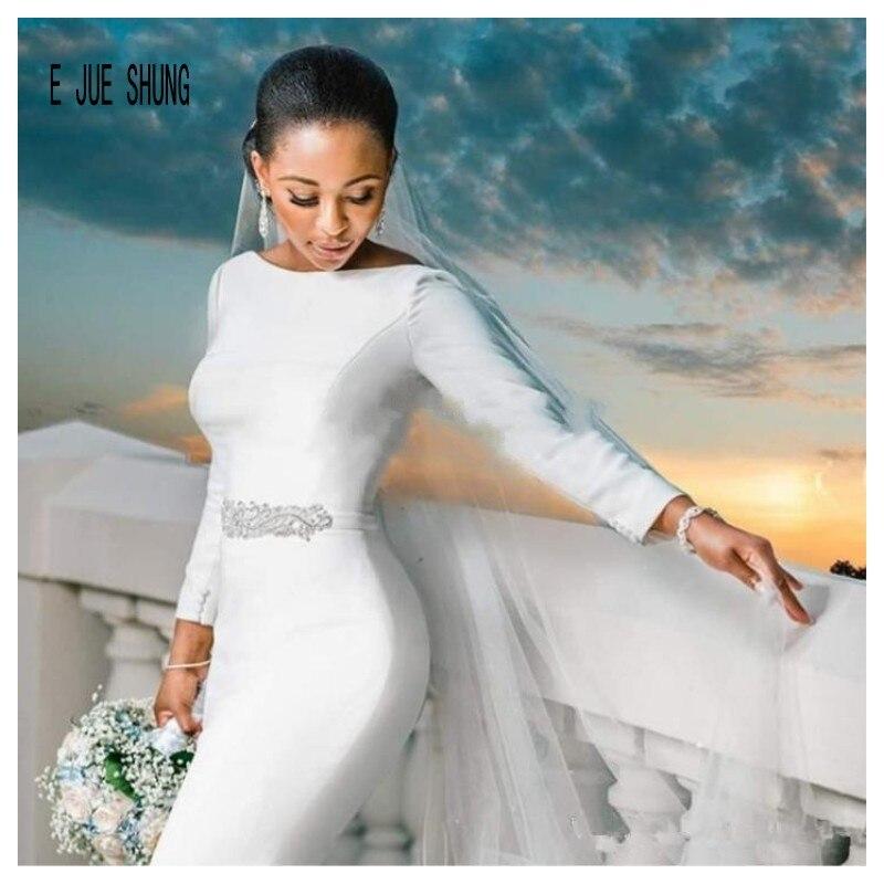 E JUE SHUNG Simple Vintage Mermaid Wedding Dresses Long Sleeves Scoop Neck Backless Crystal Sash African Wedding Bridal Gowns