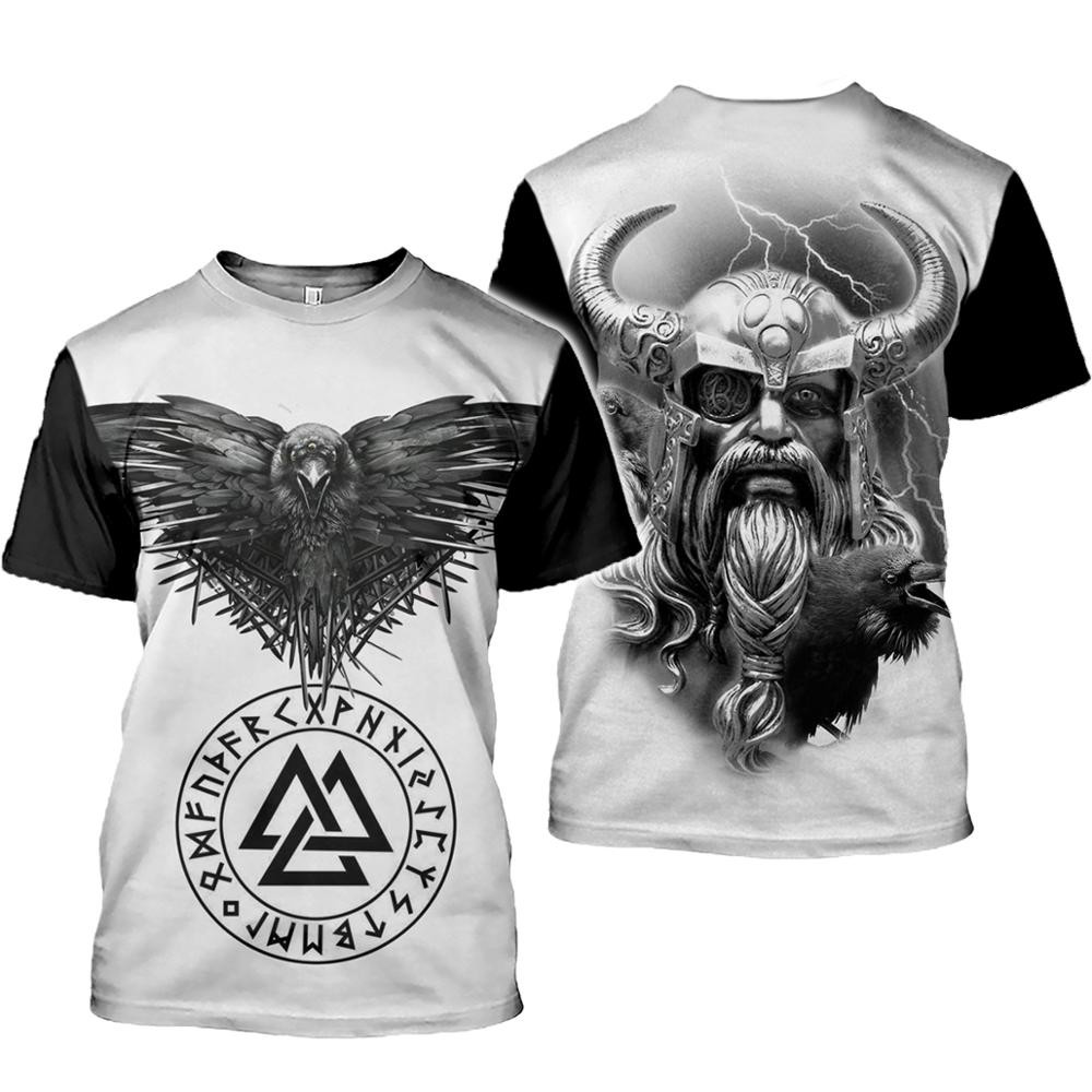 2020 latest Viking symbol printed T-shirt men's summer short-sleeved Harajuku T-shirt men's street hip-hop unisex T-shirt top 01 1