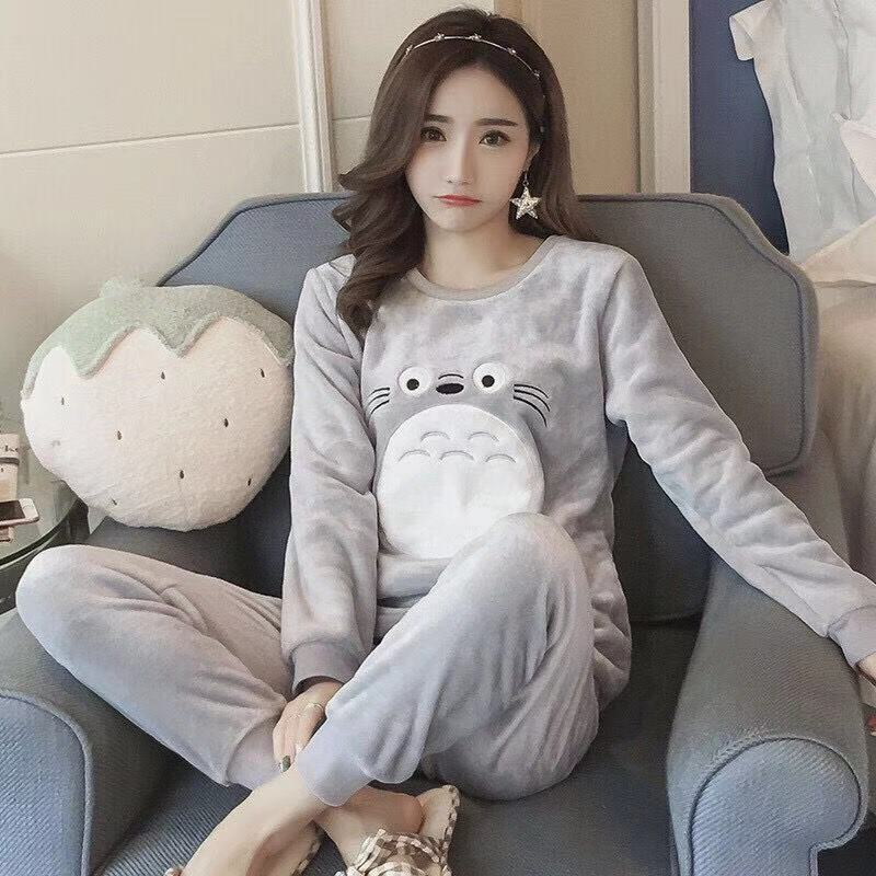 Winter Flannel Pajamas Women's Thick Autumn Long Sleeve Coral Velvet Pullover Students Pajamas Suit Warm Tracksuit