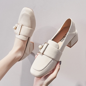 Elegant Women Pumps Metal Buckle Loafers Fashion Pearl Ladies Shoes Comfortable PU Slip-on Mid Heel Women Office Shoes chinese vintage women pumps slip on natural linen floral pumps slope heel retro cloth canvas soft shoes woman