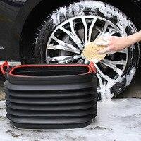 Big Size Car Trash Bin Can Storage  Box Portable Outdoor Fishing Retractable Folding Water Bucket Rubbish Dust Holder  Wy112001|Buckets| |  -
