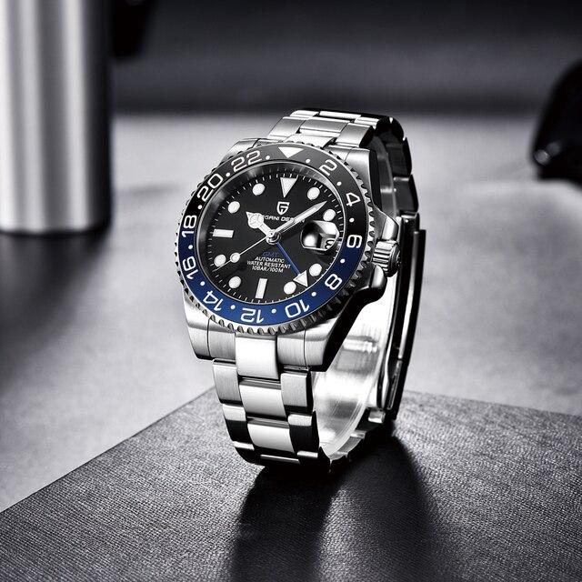 PAGANI DESIGN New Luxury Men Mechanical Wristwatch Stainless Steel GMT Watch Top Brand Sapphire Glass Men Watches reloj hombre 3