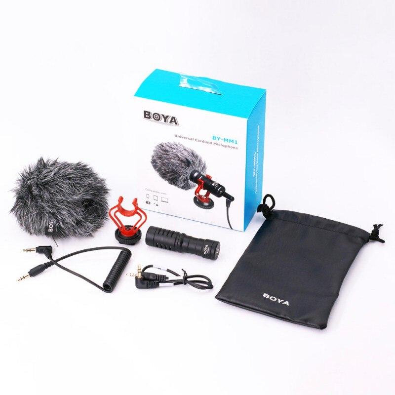 BOYA BY-MM1 cardioïde 3.5mm enregistrement Audio vidéo Microphone Micro photographie extérieure pour Smartphone DJI Osmo Nikon Canon DSLR