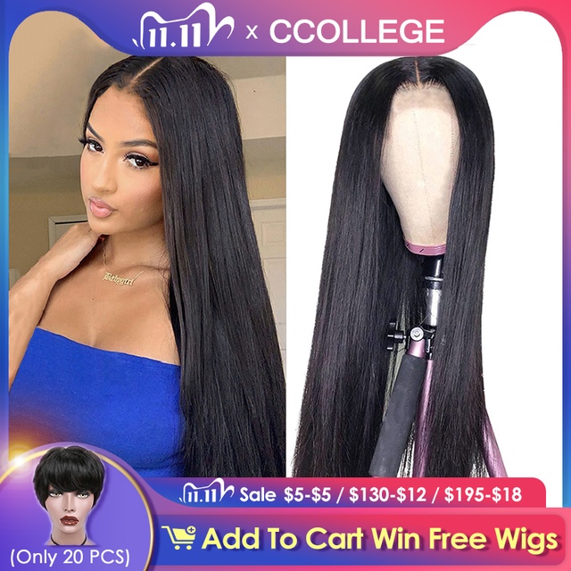 Straight HD 13x6x1 T Part Lace Wigs Brazilian Remy Natural Color Human Hair Lace Wigs For Black Women Pre Plucked With Baby Hair