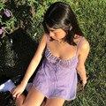 Sweetown Y2K Ästhetische Lila Party Kleid Frauen Spitze Chiffon Nette Ärmel Sexy Mini Kleider Lace Up Kawaii E Mädchen Kleidung