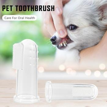 Transparent Super Soft Pet Finger Toothbrush Teddy Dog Brush Bad Breath Tartar Teeth Tool Dog Cat Cleaning Supplies image