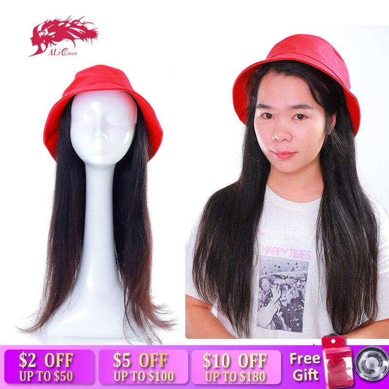 """Али королева прямые волосы с красным ведром шляпа парик 12 """"-24"""" бразильские прямые волосы remy расширение с крышкой парик"""