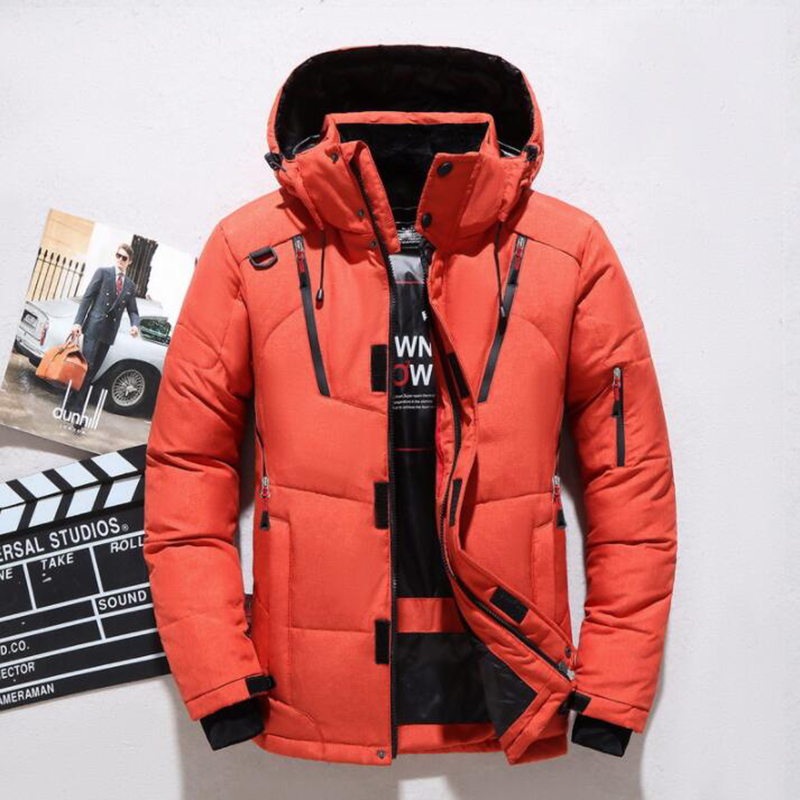High quality men's   Down   jacket winter thick warm snow outerwear fashion white duck   down   jacket hooded parka casual men   down     coat